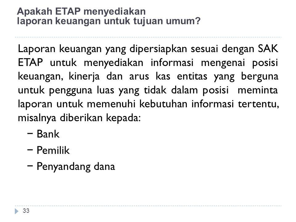 Apakah ETAP menyediakan laporan keuangan untuk tujuan umum? Laporan keuangan yang dipersiapkan sesuai dengan SAK ETAP untuk menyediakan informasi meng