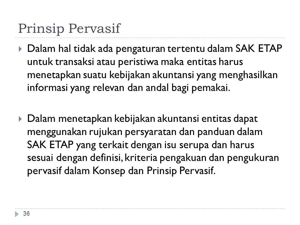 Prinsip Pervasif  Dalam hal tidak ada pengaturan tertentu dalam SAK ETAP untuk transaksi atau peristiwa maka entitas harus menetapkan suatu kebijakan