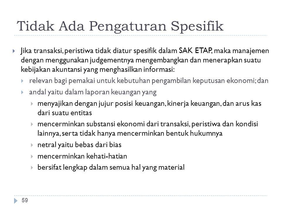 Tidak Ada Pengaturan Spesifik  Jika transaksi, peristiwa tidak diatur spesifik dalam SAK ETAP, maka manajemen dengan menggunakan judgementnya mengemb