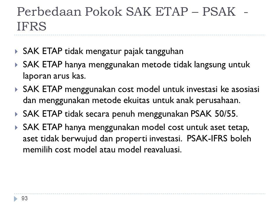 Perbedaan Pokok SAK ETAP – PSAK - IFRS  SAK ETAP tidak mengatur pajak tangguhan  SAK ETAP hanya menggunakan metode tidak langsung untuk laporan arus