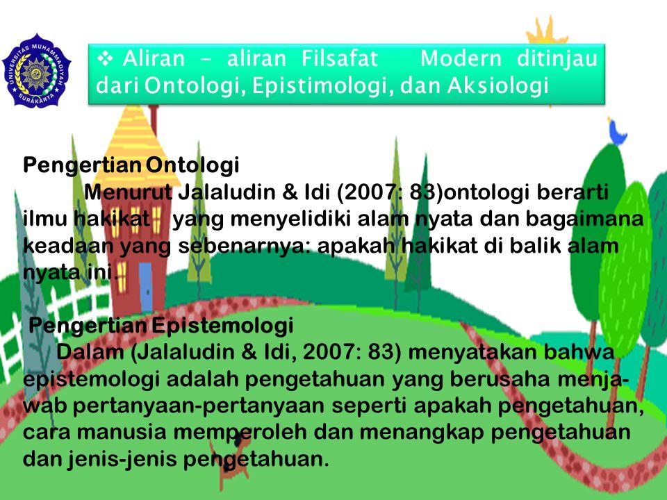  Aliran - aliran Filsafat Modern ditinjau dari Ontologi, Epistimologi, dan Aksiologi Pengertian Ontologi Menurut Jalaludin & Idi (2007: 83)ontologi b