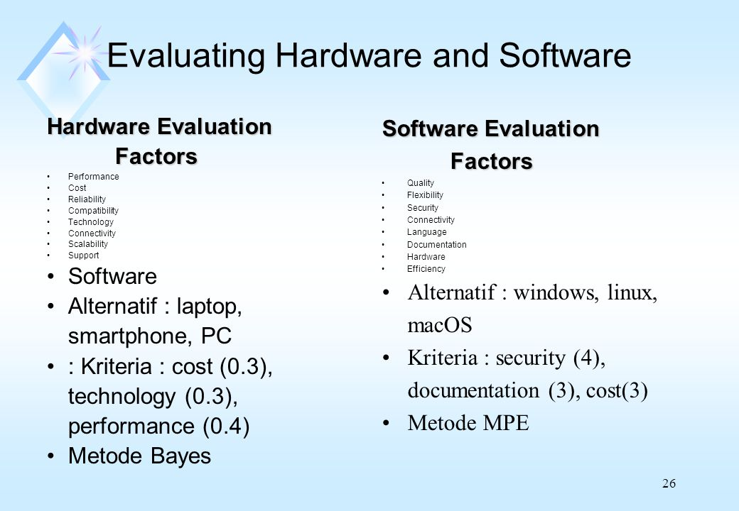 26 Evaluating Hardware and Software Hardware Evaluation Factors Performance Cost Reliability Compatibility Technology Connectivity Scalability Support