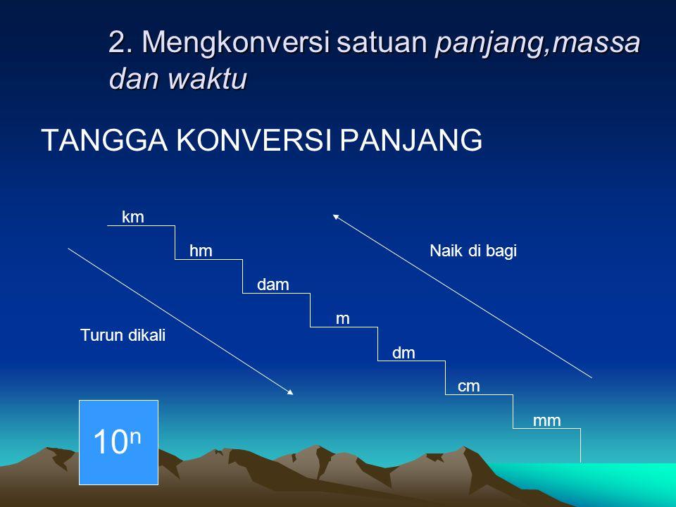 2. Mengkonversi satuan panjang,massa dan waktu TANGGA KONVERSI PANJANG km hm m cm dm dam mm Turun dikali 10 n Naik di bagi