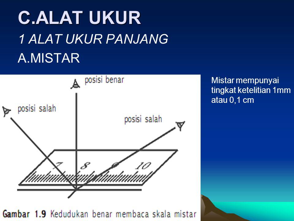 C.ALAT UKUR 1 ALAT UKUR PANJANG A.MISTAR Mistar mempunyai tingkat ketelitian 1mm atau 0,1 cm