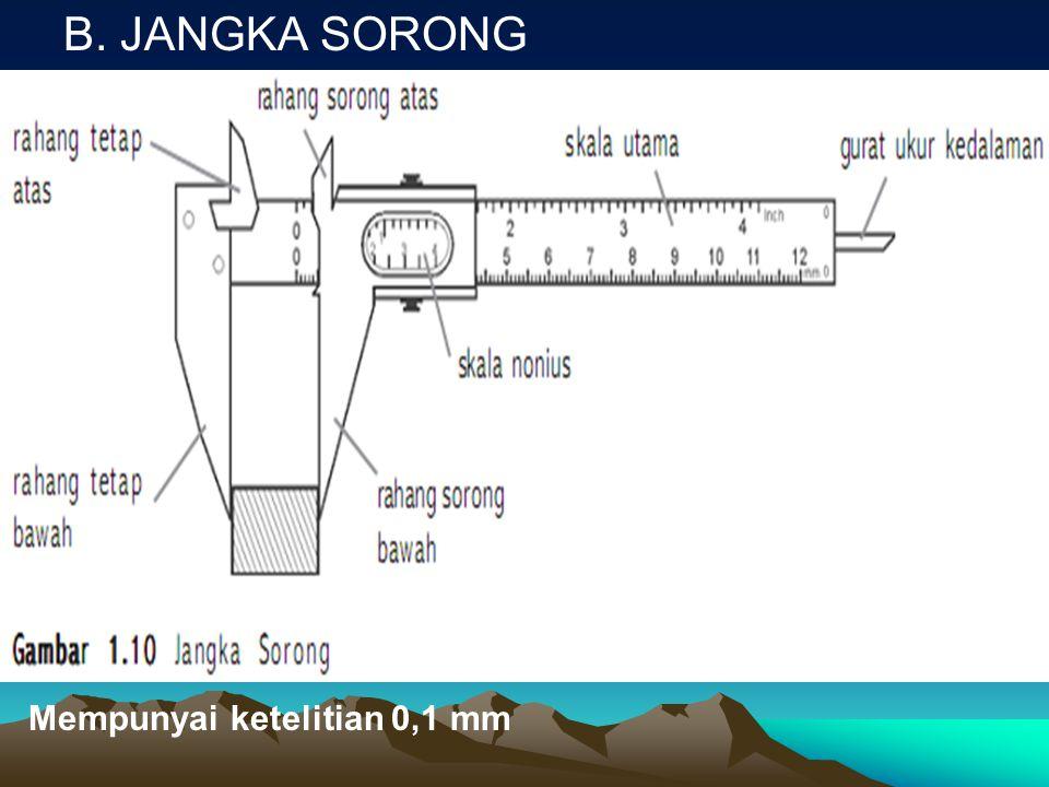 B. JANGKA SORONG Mempunyai ketelitian 0,1 mm