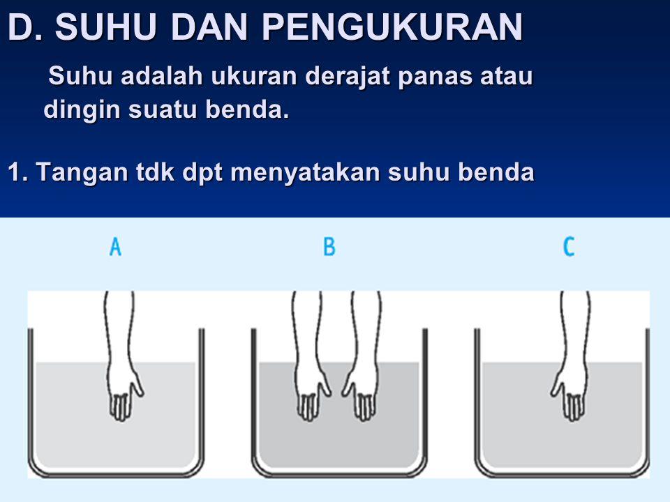 D. SUHU DAN PENGUKURAN Suhu adalah ukuran derajat panas atau dingin suatu benda. 1. Tangan tdk dpt menyatakan suhu benda