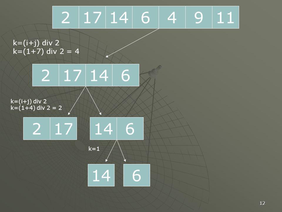 12 2171196414 217614 k=(i+j) div 2 k=(1+7) div 2 = 4 217 k=(i+j) div 2 k=(1+4) div 2 = 2 614 6 k=1