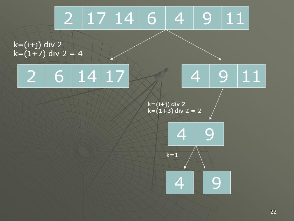 22 2171196414 261714 k=(i+j) div 2 k=(1+7) div 2 = 4 1194 94 k=(i+j) div 2 k=(1+3) div 2 = 2 49 k=1