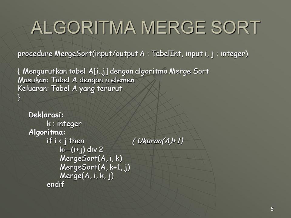 5 procedure MergeSort(input/output A : TabelInt, input i, j : integer) { Mengurutkan tabel A[i..j] dengan algoritma Merge Sort Masukan: Tabel A dengan