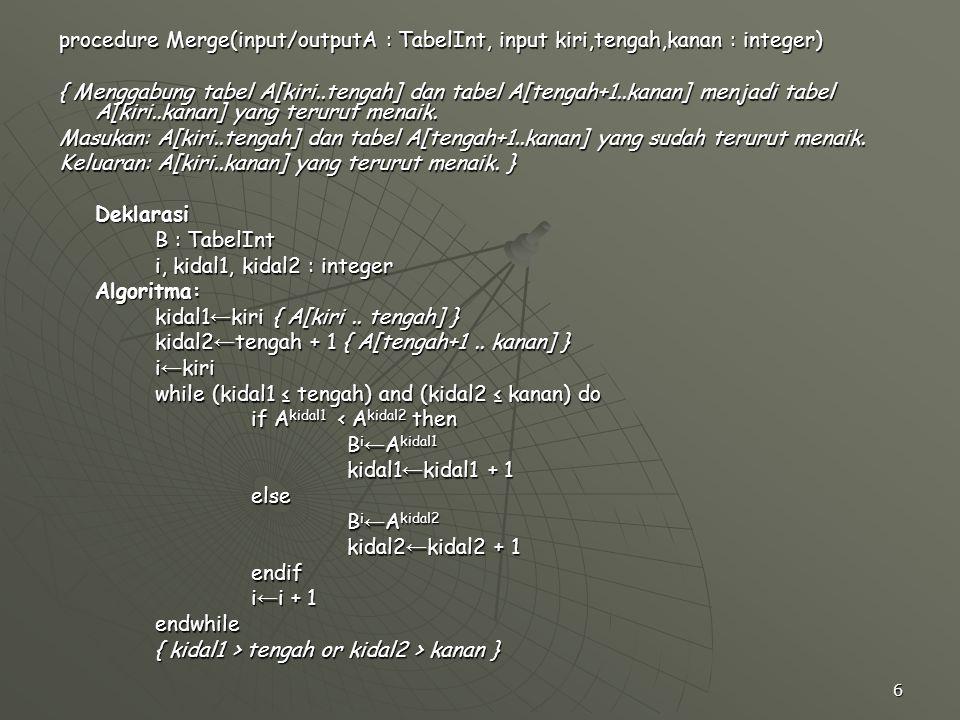 6 procedure Merge(input/outputA : TabelInt, input kiri,tengah,kanan : integer) { Menggabung tabel A[kiri..tengah] dan tabel A[tengah+1..kanan] menjadi