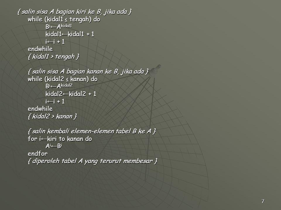 7 { salin sisa A bagian kiri ke B, jika ada } while (kidal1 ≤ tengah) do B i ← A kidal1 kidal1 ← kidal1 + 1 i ← i + 1 endwhile { kidal1 > tengah } { s