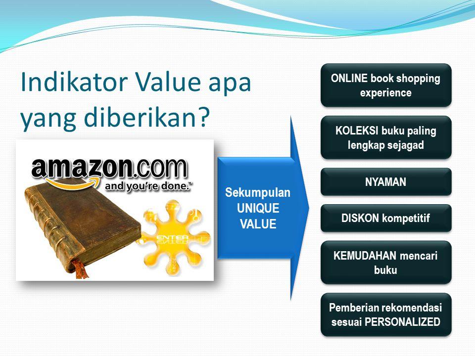 Indikator Value apa yang diberikan? ONLINE book shopping experience KOLEKSI buku paling lengkap sejagad Sekumpulan UNIQUE VALUE NYAMAN KEMUDAHAN menca