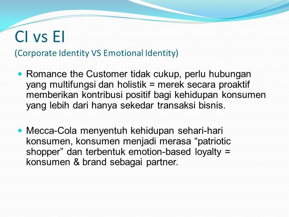 CI vs EI (Corporate Identity VS Emotional Identity) Romance the Customer tidak cukup, perlu hubungan yang multifungsi dan holistik = merek secara proa