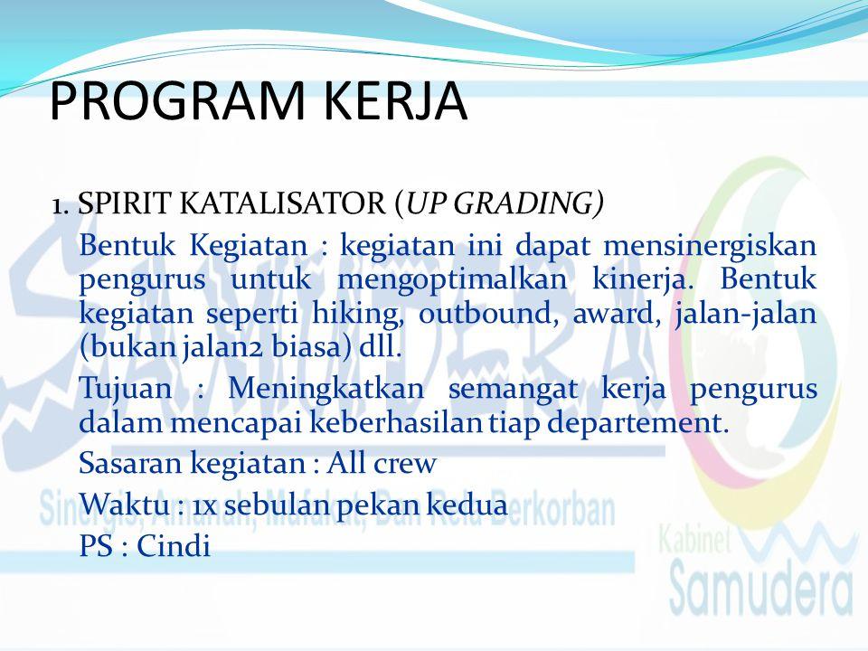 PROGRAM KERJA 1. SPIRIT KATALISATOR (UP GRADING) Bentuk Kegiatan : kegiatan ini dapat mensinergiskan pengurus untuk mengoptimalkan kinerja. Bentuk keg