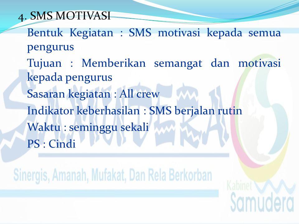 4. SMS MOTIVASI Bentuk Kegiatan : SMS motivasi kepada semua pengurus Tujuan : Memberikan semangat dan motivasi kepada pengurus Sasaran kegiatan : All