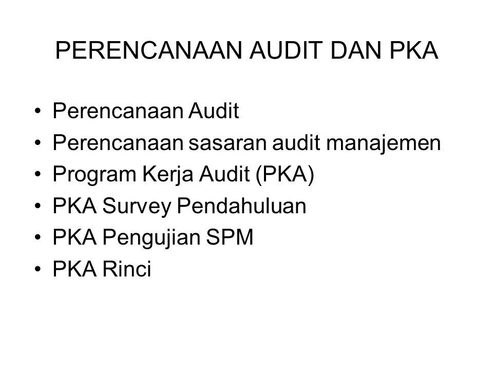 PERENCANAAN AUDIT 1.Rencana penggunaan sumber daya: Tenaga/petugas audit dan jumlahnya Biaya audit & sarana 2.Rencana Waktu: Jadwal waktu s/d terbit laporan audit Jam/hari audit pertahapan ausit (survei pendahuluan, pengujian SPM, audit rinci pelaporan) 3.Program Kerja Audit