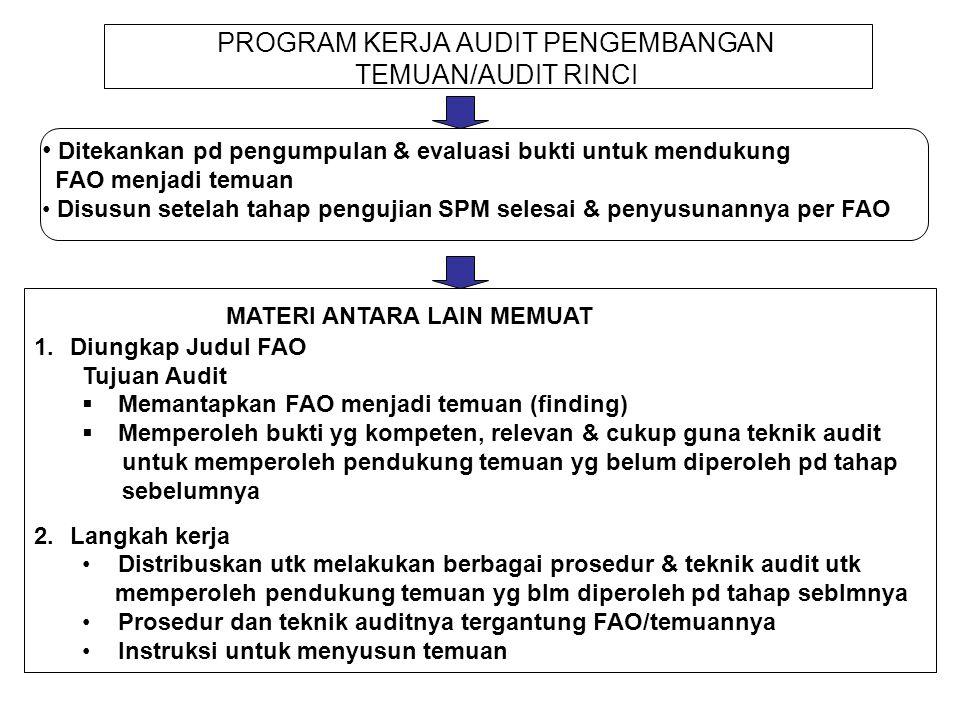 PROGRAM KERJA AUDIT PENGEMBANGAN TEMUAN/AUDIT RINCI Ditekankan pd pengumpulan & evaluasi bukti untuk mendukung FAO menjadi temuan Disusun setelah taha