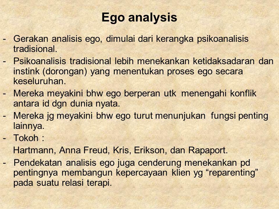 Ego analysis -Gerakan analisis ego, dimulai dari kerangka psikoanalisis tradisional. -Psikoanalisis tradisional lebih menekankan ketidaksadaran dan in