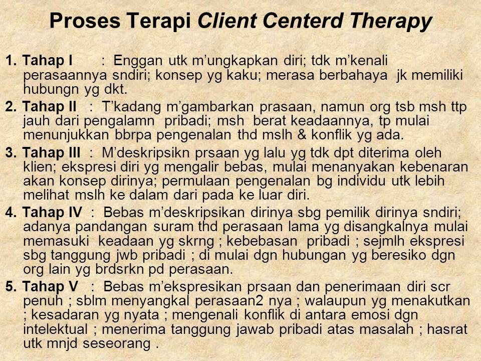 Proses Terapi Client Centerd Therapy 1. Tahap I: Enggan utk m'ungkapkan diri; tdk m'kenali perasaannya sndiri; konsep yg kaku; merasa berbahaya jk mem