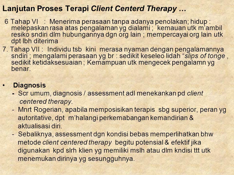 Lanjutan Proses Terapi Client Centerd Therapy … 6. Tahap VI : Menerima perasaan tanpa adanya penolakan; hidup : melepaskan rasa atas pengalaman yg dia