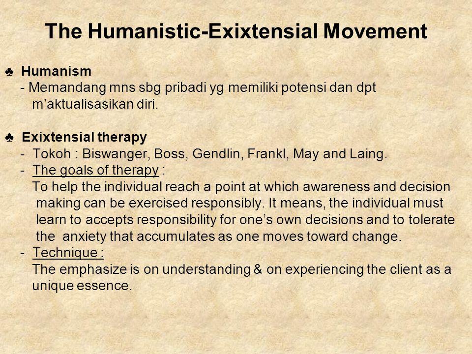 The Humanistic-Exixtensial Movement ♣ Humanism - Memandang mns sbg pribadi yg memiliki potensi dan dpt m'aktualisasikan diri. ♣ Exixtensial therapy -