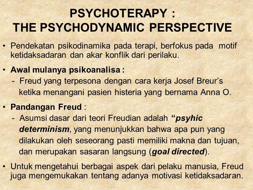 PSYCHOTERAPY : THE PSYCHODYNAMIC PERSPECTIVE Pendekatan psikodinamika pada terapi, berfokus pada motif ketidaksadaran dan akar konflik dari perilaku.