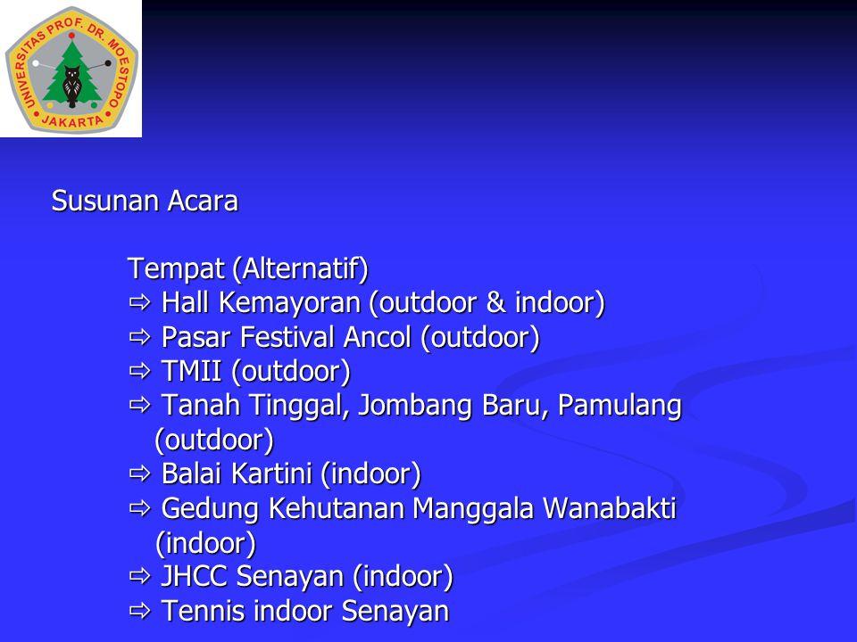 Susunan Acara Tempat (Alternatif)  Hall Kemayoran (outdoor & indoor)  Pasar Festival Ancol (outdoor)  TMII (outdoor)  Tanah Tinggal, Jombang Baru,