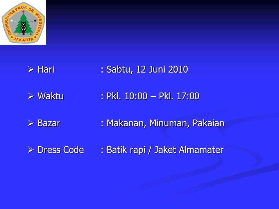 Hari: Sabtu, 12 Juni 2010  Waktu: Pkl. 10:00 – Pkl. 17:00  Bazar: Makanan, Minuman, Pakaian  Dress Code: Batik rapi / Jaket Almamater
