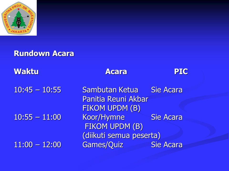 Rundown Acara WaktuAcaraPIC 10:45 – 10:55 Sambutan KetuaSie Acara Panitia Reuni Akbar FIKOM UPDM (B) 10:55 – 11:00Koor/HymneSie Acara FIKOM UPDM (B) FIKOM UPDM (B) (diikuti semua peserta) 11:00 – 12:00Games/Quiz Sie Acara