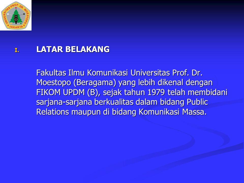 I. LATAR BELAKANG Fakultas Ilmu Komunikasi Universitas Prof. Dr. Moestopo (Beragama) yang lebih dikenal dengan FIKOM UPDM (B), sejak tahun 1979 telah