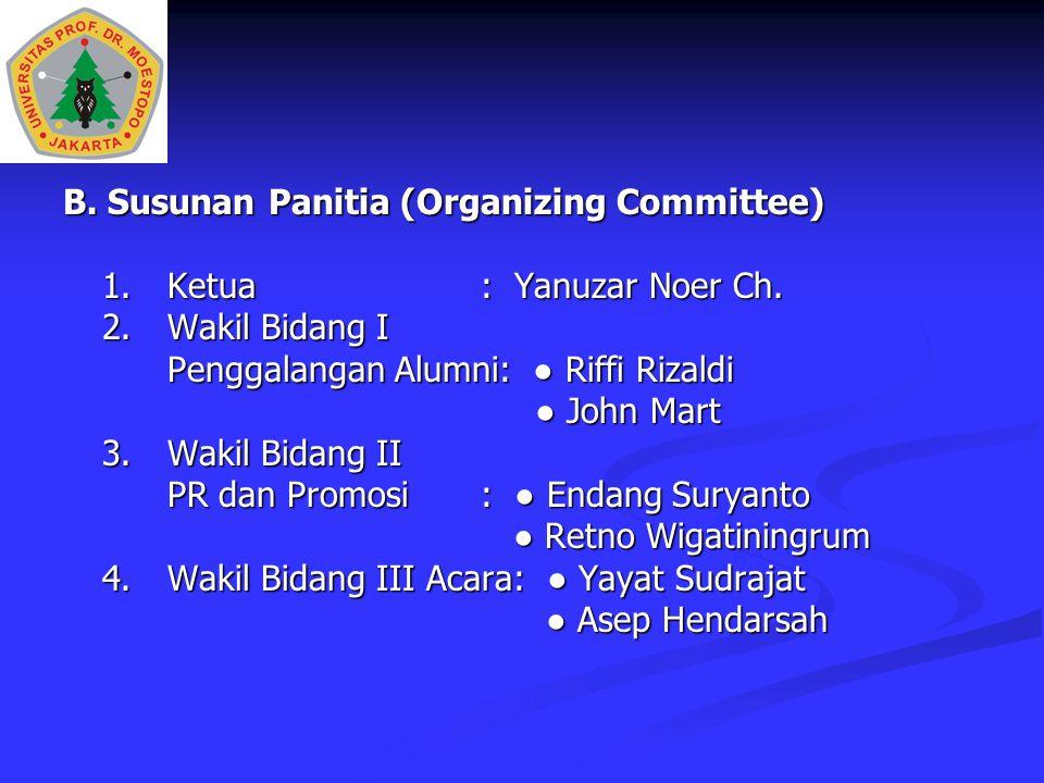 B. Susunan Panitia (Organizing Committee) 1.Ketua: Yanuzar Noer Ch. 2.Wakil Bidang I Penggalangan Alumni: ● Riffi Rizaldi ● John Mart ● John Mart 3.Wa