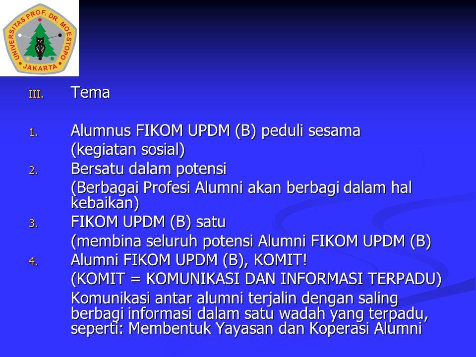 III. Tema 1. Alumnus FIKOM UPDM (B) peduli sesama (kegiatan sosial) 2. Bersatu dalam potensi (Berbagai Profesi Alumni akan berbagi dalam hal kebaikan)