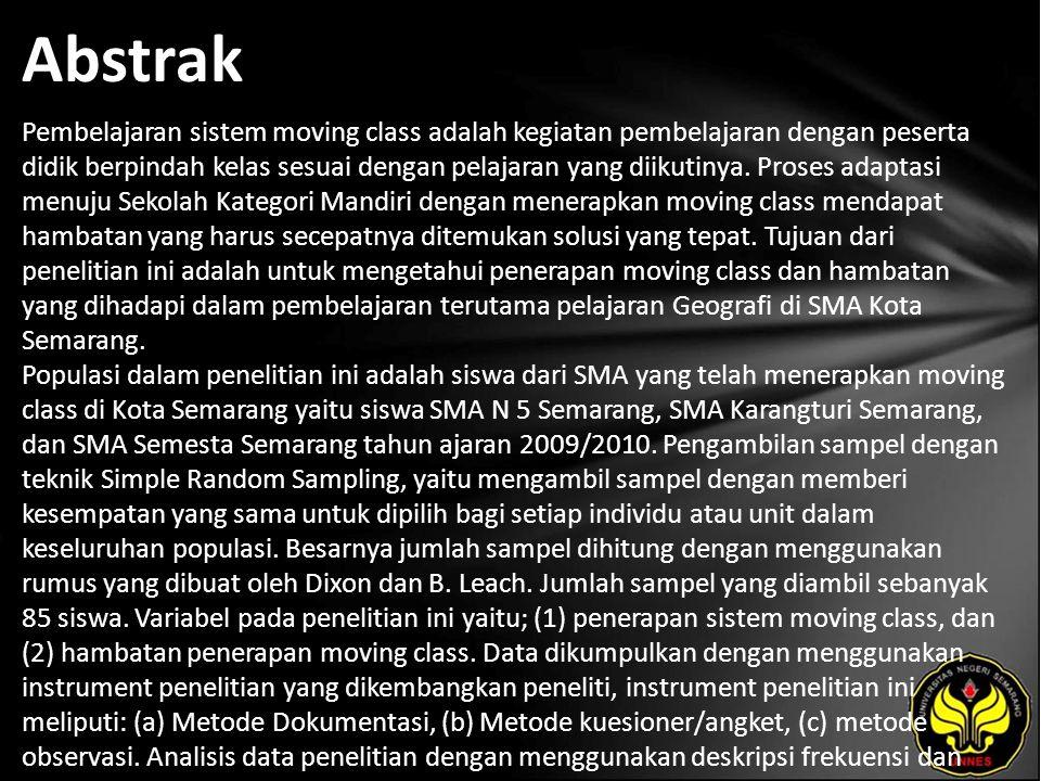 Kata Kunci Moving Class, SMA Kota Semarang, Hambatan.
