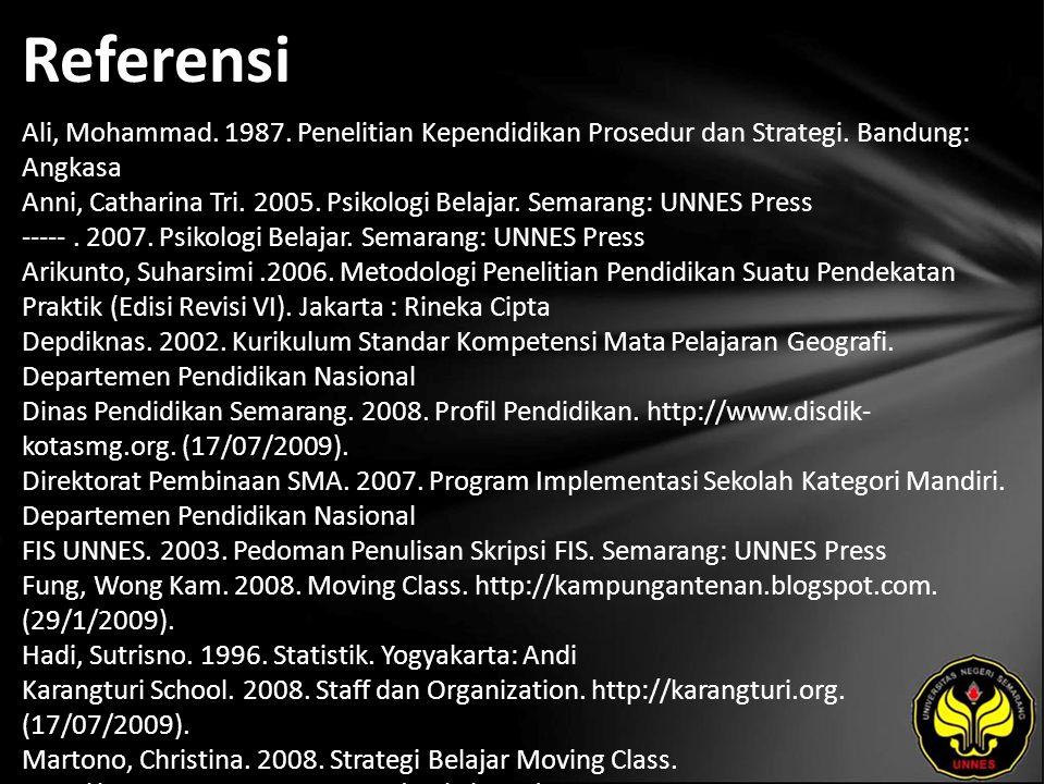 Referensi Ali, Mohammad. 1987. Penelitian Kependidikan Prosedur dan Strategi. Bandung: Angkasa Anni, Catharina Tri. 2005. Psikologi Belajar. Semarang: