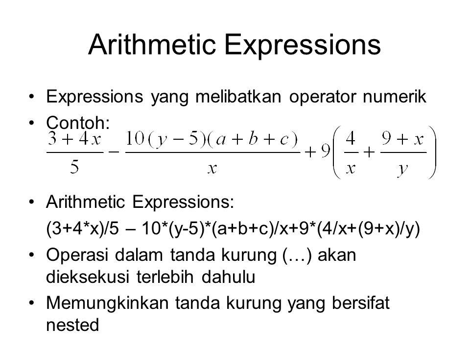 Arithmetic Expressions Expressions yang melibatkan operator numerik Contoh: Arithmetic Expressions: (3+4*x)/5 – 10*(y-5)*(a+b+c)/x+9*(4/x+(9+x)/y) Ope
