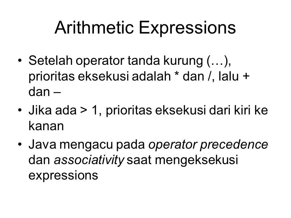 Arithmetic Expressions Setelah operator tanda kurung (…), prioritas eksekusi adalah * dan /, lalu + dan – Jika ada > 1, prioritas eksekusi dari kiri k