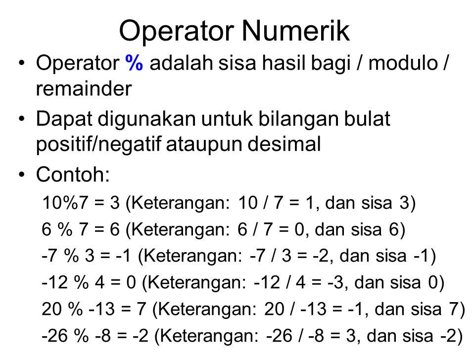 Operator Numerik Operator % adalah sisa hasil bagi / modulo / remainder Dapat digunakan untuk bilangan bulat positif/negatif ataupun desimal Contoh: 1