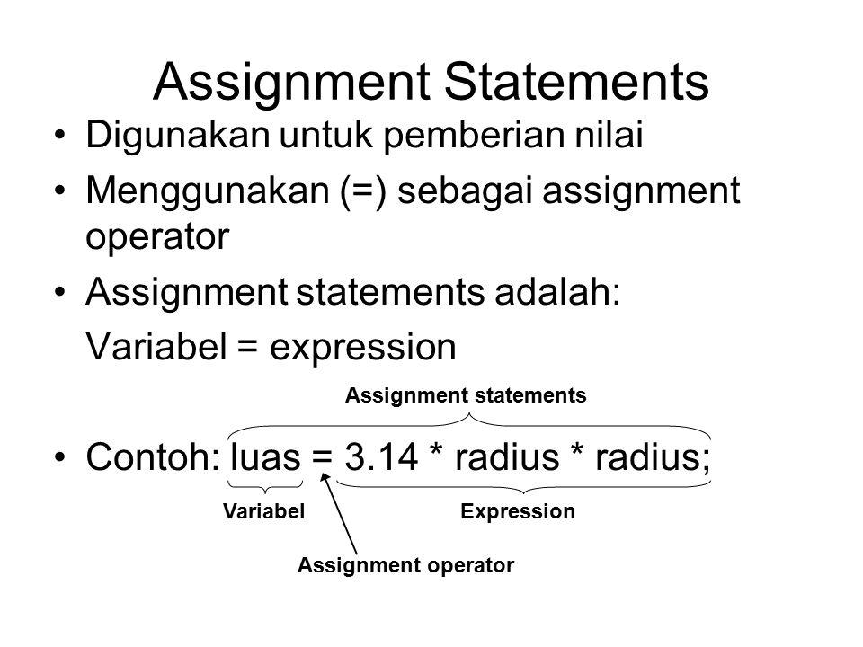 Assignment Statements Digunakan untuk pemberian nilai Menggunakan (=) sebagai assignment operator Assignment statements adalah: Variabel = expression