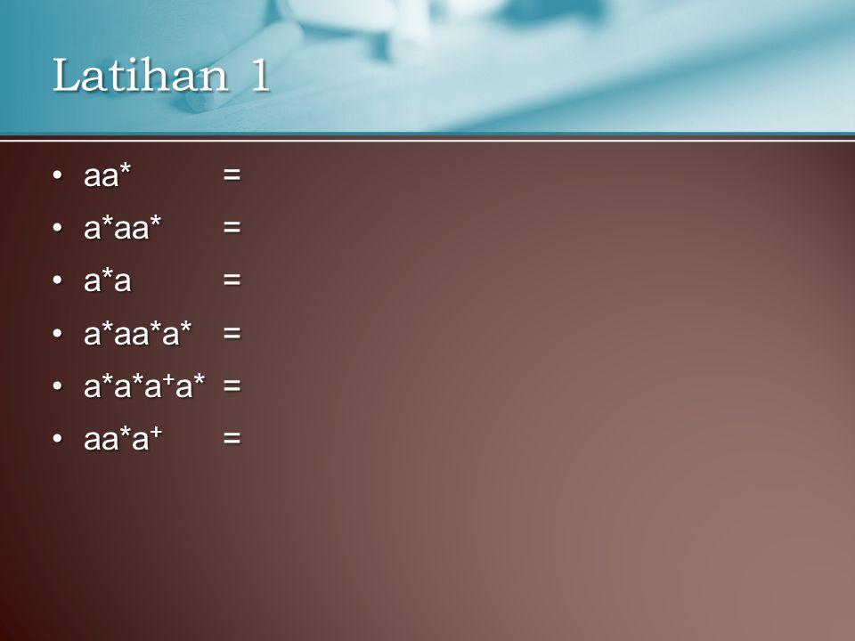 aa* =aa* = a*aa* =a*aa* = a*a =a*a = a*aa*a* =a*aa*a* = a*a*a + a* =a*a*a + a* = aa*a + =aa*a + = Latihan 1