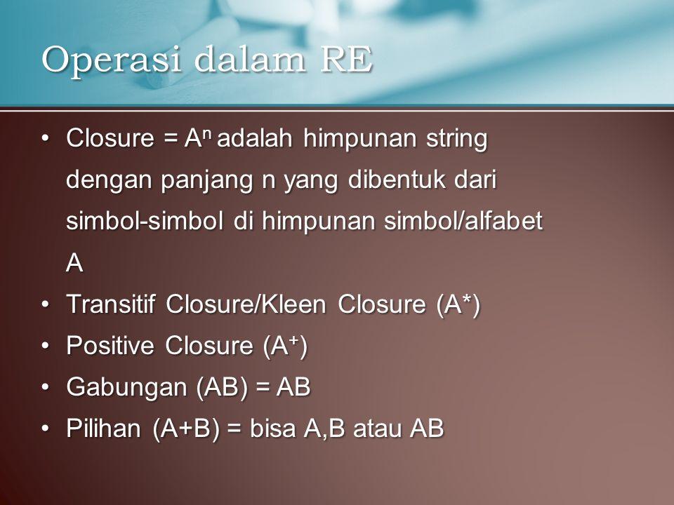 Closure = A n adalah himpunan stringClosure = A n adalah himpunan string dengan panjang n yang dibentuk dari simbol-simbol di himpunan simbol/alfabet A Transitif Closure/Kleen Closure (A*)Transitif Closure/Kleen Closure (A*) Positive Closure (A + )Positive Closure (A + ) Gabungan (AB) = ABGabungan (AB) = AB Pilihan (A+B) = bisa A,B atau ABPilihan (A+B) = bisa A,B atau AB Operasi dalam RE