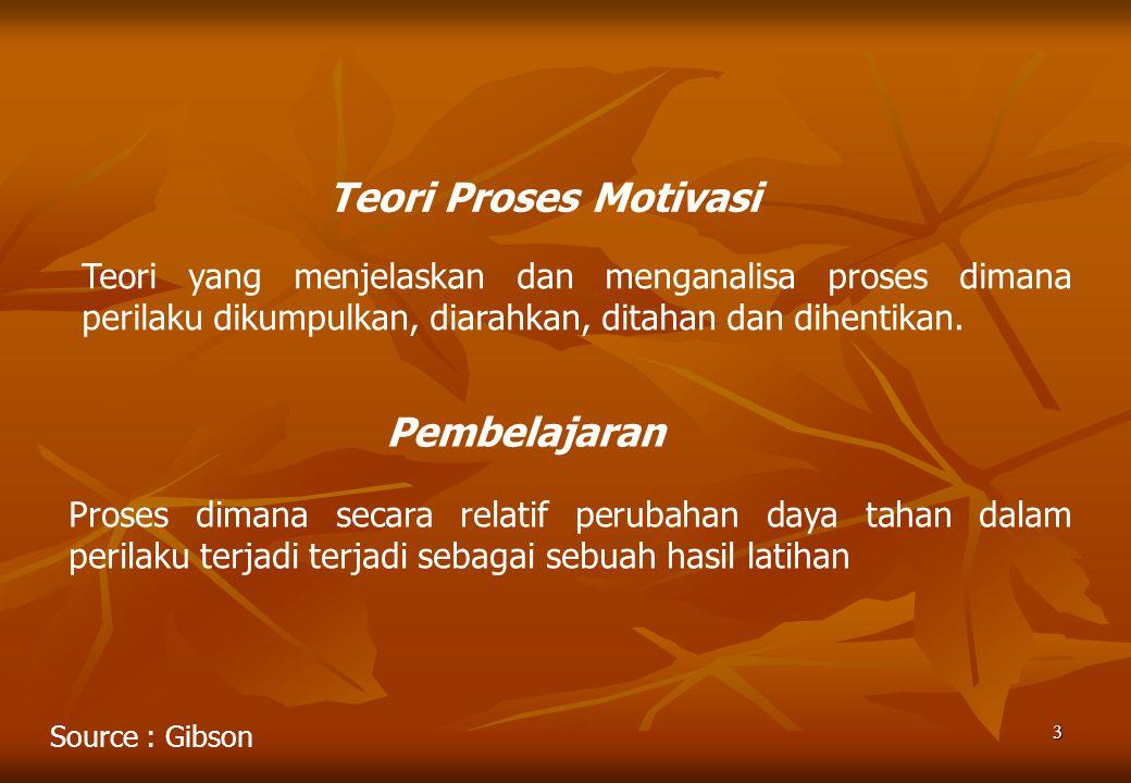3 Teori Proses Motivasi Teori yang menjelaskan dan menganalisa proses dimana perilaku dikumpulkan, diarahkan, ditahan dan dihentikan. Pembelajaran Pro