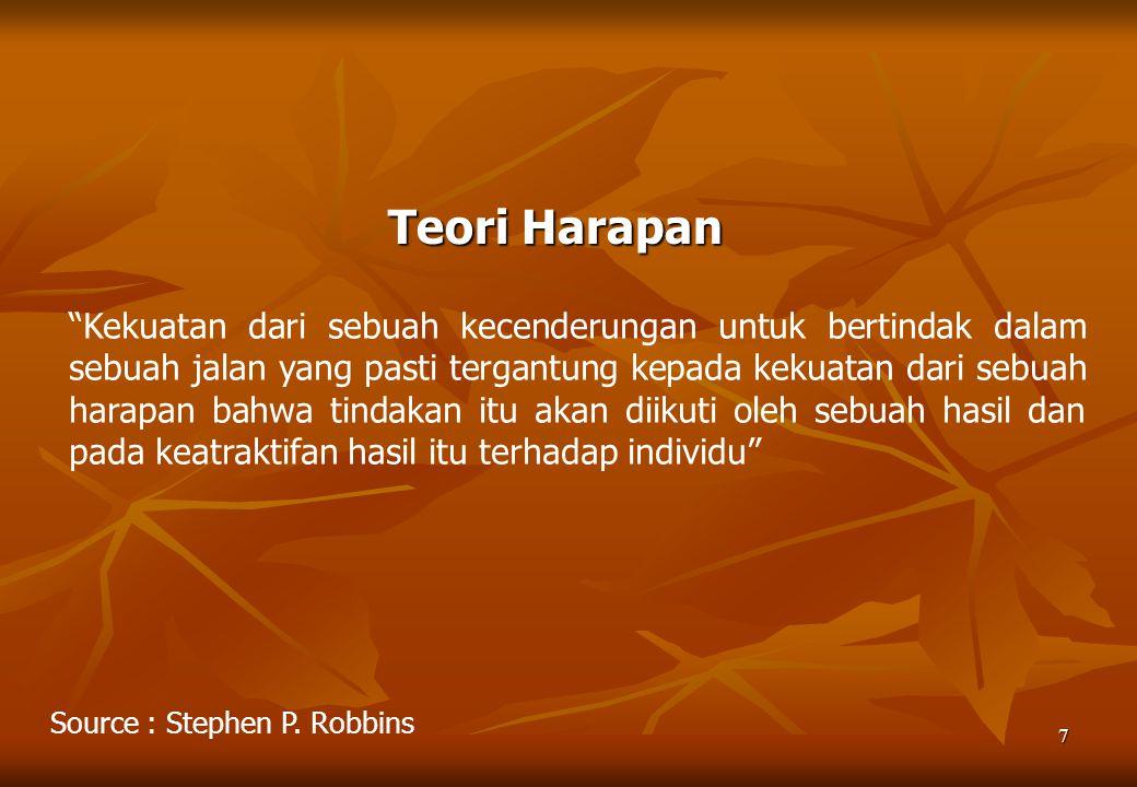 """7 Teori Harapan Source : Stephen P. Robbins """"Kekuatan dari sebuah kecenderungan untuk bertindak dalam sebuah jalan yang pasti tergantung kepada kekuat"""
