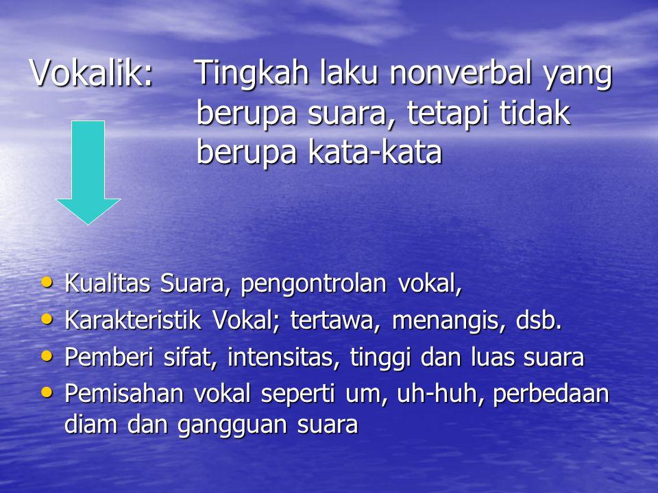 Vokalik: Tingkah laku nonverbal yang berupa suara, tetapi tidak berupa kata-kata Tingkah laku nonverbal yang berupa suara, tetapi tidak berupa kata-kata Kualitas Suara, pengontrolan vokal, Kualitas Suara, pengontrolan vokal, Karakteristik Vokal; tertawa, menangis, dsb.