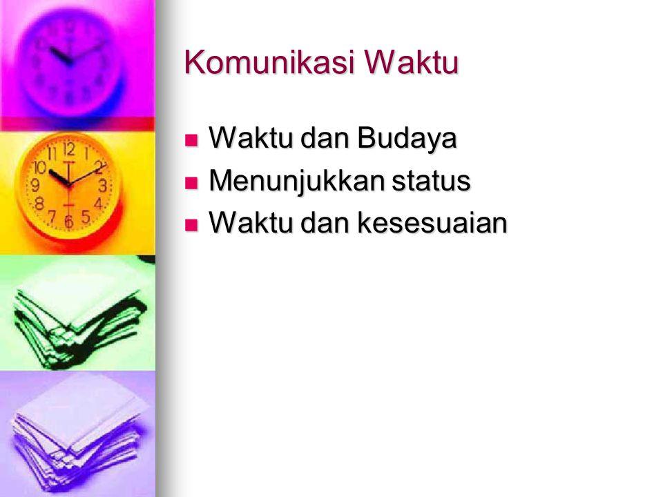 Komunikasi Waktu Waktu dan Budaya Waktu dan Budaya Menunjukkan status Menunjukkan status Waktu dan kesesuaian Waktu dan kesesuaian