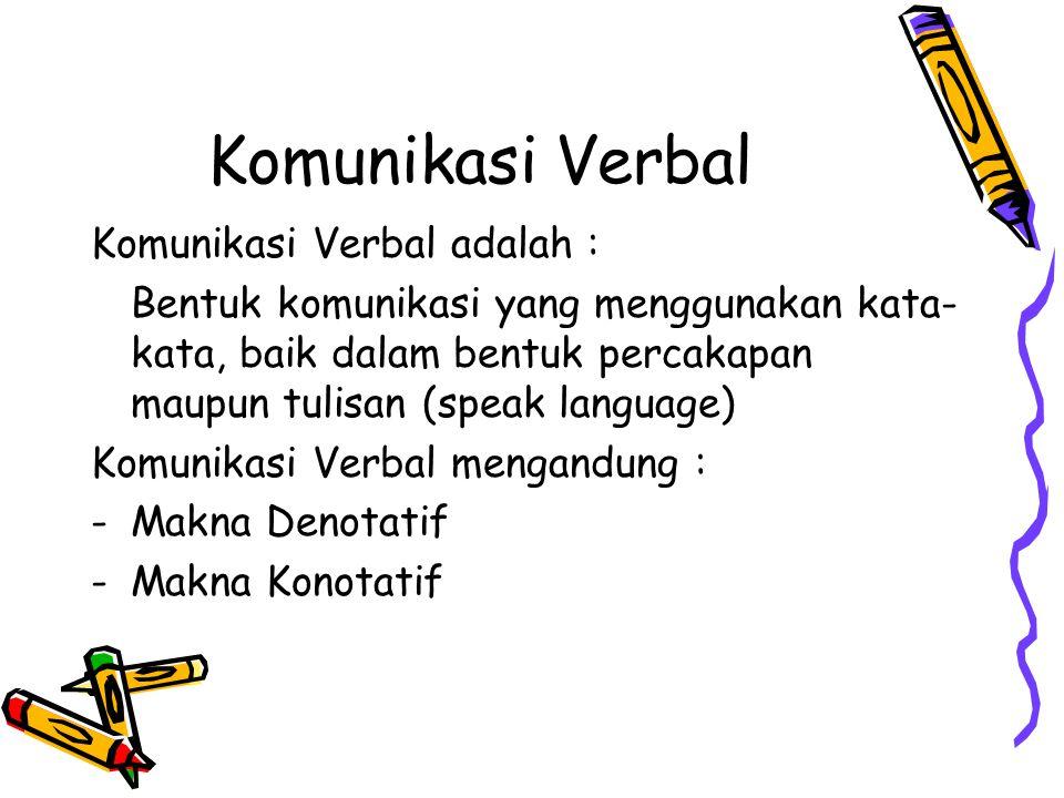 Komunikasi Verbal Komunikasi Verbal adalah : Bentuk komunikasi yang menggunakan kata- kata, baik dalam bentuk percakapan maupun tulisan (speak languag