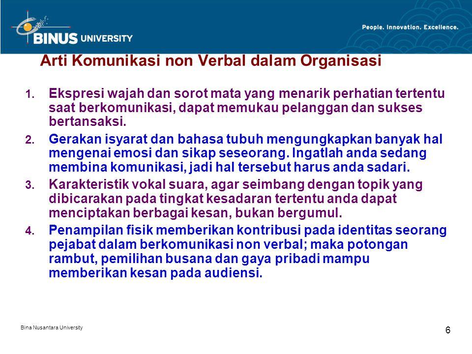 Bina Nusantara University 6 Arti Komunikasi non Verbal dalam Organisasi 1.