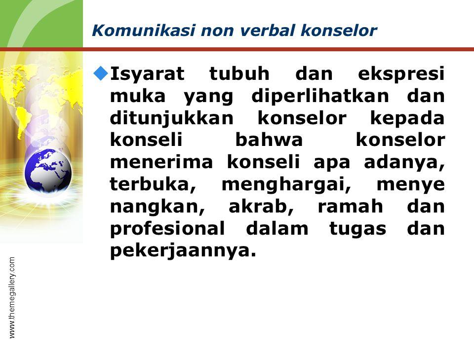 Komunikasi non verbal konselor  Isyarat tubuh dan ekspresi muka yang diperlihatkan dan ditunjukkan konselor kepada konseli bahwa konselor menerima ko