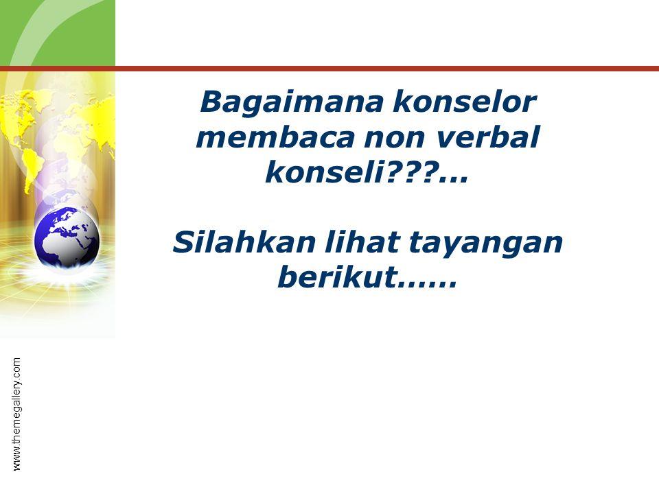 Bagaimana konselor membaca non verbal konseli???... Silahkan lihat tayangan berikut…… www.themegallery.com
