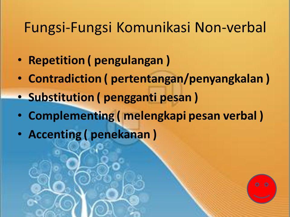 Fungsi-Fungsi Komunikasi Non-verbal Repetition ( pengulangan ) Contradiction ( pertentangan/penyangkalan ) Substitution ( pengganti pesan ) Complementing ( melengkapi pesan verbal ) Accenting ( penekanan )