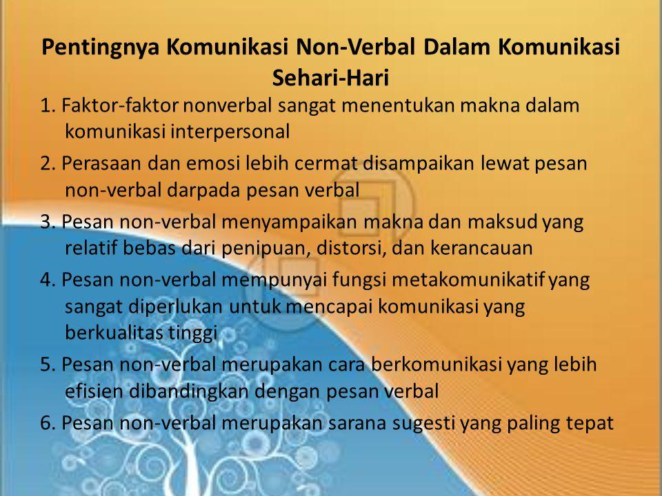 Pentingnya Komunikasi Non-Verbal Dalam Komunikasi Sehari-Hari 1.